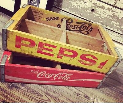 2 Vintage 1970's Yellow Pepsi & Coke Coca Cola Wood Soda Pop Case Crate