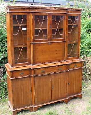 Large 4 Door Breakfront Walnut Cabinet with Glazed Top Display sections.