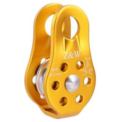 20KN Pro Rock Climbing Tree Climb Rope Fixed Type Pulley Rescue Lifting Gold