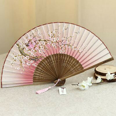New Japanese Pink Cherry Blossom Anime Cosplay Chinese Hand Fan Folding Fan