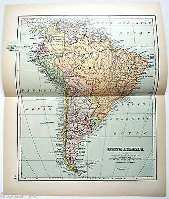 Vintage Original 1895 Map of South America