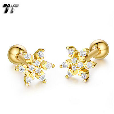 TT Gold Surgical Steel Snow Cartilage Tragus Earrings (TR43J) NEW