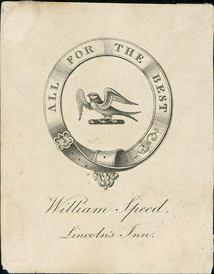 'William Speed' Lincoln's Inn. 'All For The Best'   Bookplate (JC.189)