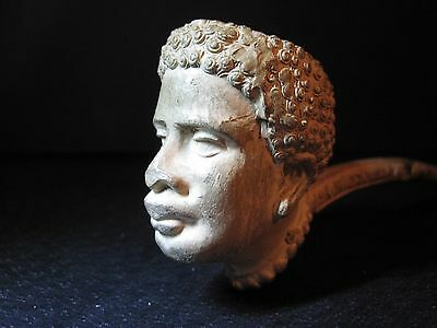 ANTIQUE FRENCH AFRICAN FIGURE CLAY PIPE BON FUMEUR TOBACCO AMERICAN IMPORT 1920s