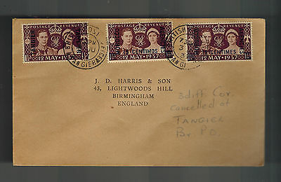1937 Tangier Morocco Agencies cover KGVI Coronation Stamps British Post Office