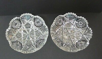 "Pair American Brilliant Period (Abp) Cut Glass 6"" Dishes ""starburst & Fan"""