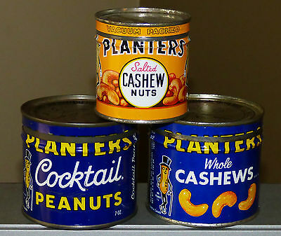3 rare Canadian PLANTERS whole Cashew Peanuts nuts keywind tin cans FREE SHIP!