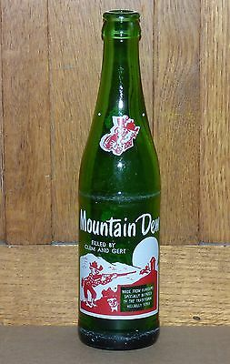 Rare Canadian MOUNTAIN DEW 'Clem & Gert' 10 oz ACL soda pop bottle FREE SHIP!