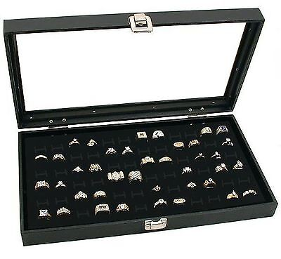 Jewelry Box Holder Tray 72 Ring Display Case Organizer Glass Top Black Latch Lid