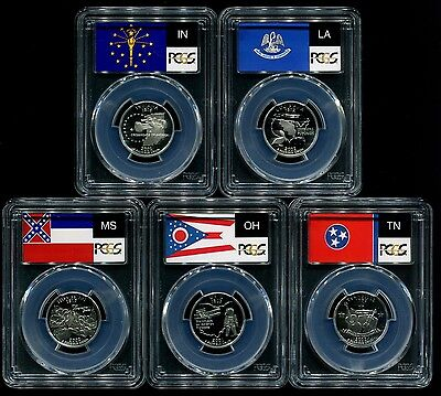 2002 S Silver State Quarter 5 Coin Proof Set PCGS PR69 DCAM 25C New Holders!