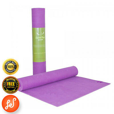 Yoga Gym Mat NonSlip 4MM Earth Flow NBR SuperThick Pilate Stretch Now Purple