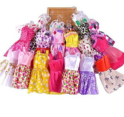 10 pcs/Lot Fashion Party Daily Wear Dress Outfits Clothes For Barbie Doll Toy