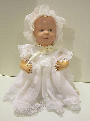 "Antique 15"" Schoenhut jointed wood baby - blue eyes - painted hair - nice outfit"