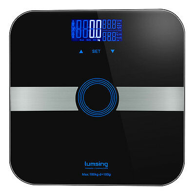 Lumsing 400lb/180kg Digital Body Weight Bathroom Scale Fat Muscles Calorie BMI