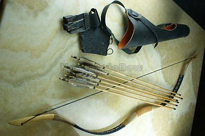 85-110# Hunting Longbow Set Chinese Bow+6 Bamboo Arrows Glove Guard  Back Quiver