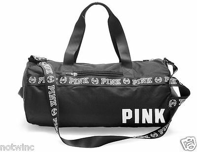 Victoria's Secret Pink Gym Duffle Bag Black White Sold Out New Nwt