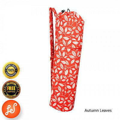 Printed 100% Organic Cotton Yoga Mat Bag Stretch Now Autumn Leaaves