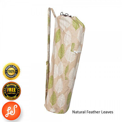 Printed 100% Organic Cotton Yoga Mat Bag Stretch Now Natural Feather Leaves