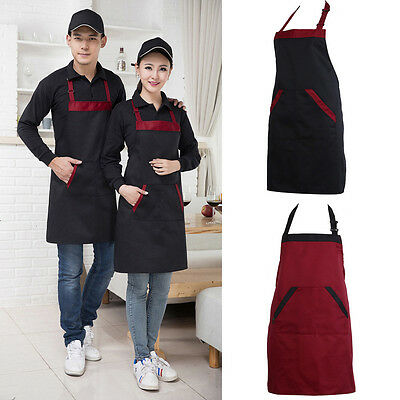 Plain Apron + Pocket for Chefs Butchers Cafe BBQ Kitchen Cooking Craft Black Red
