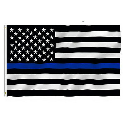 Hot Thin Blue Line USA American Flag Police 3x5 Foot Law Enforcement Grommets