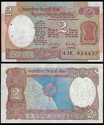 India 2 RUPEES Sign 85 NO Letter ND 1976 P 79j UNC
