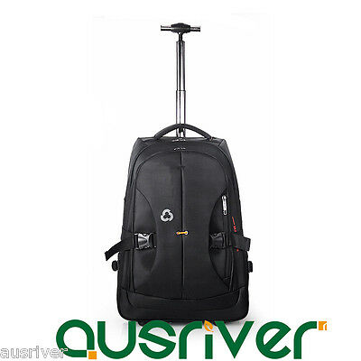 New Portable Luggage Backpack Carry On Travel Laptop Trolley Bag Wheeled Black