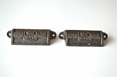 Pair vintage cast iron Royal Mail GPO drawer pull handle chest post office GPO