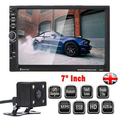 "7"" HD Double 2Din Car Radio Bluetooth MP5 Player Touchscreen GPS+Rear View CAMER"