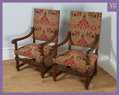 Antique Pair Two French Walnut Fauteuil Upholstered Hall Libary Elbow Armchairs
