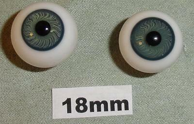 18RHZA Round Glass German French Doll Eyes Hazel Hand Blown 18mm
