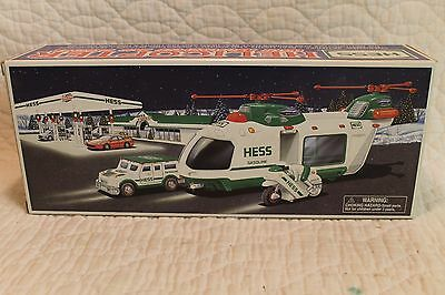 Hess Truck 2001 Helicopter W/motorcycle & Cruiser In New Condition