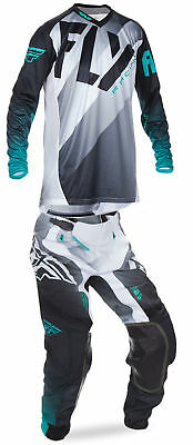 Fly Racing Black/White/Teal Mens Lite Hydrogen Dirt Bike Jersey & Pant Kit 2017