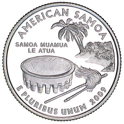 2009 S Territories Quarter American Samoa Gem Proof Deep Cameo CN-Clad Coin