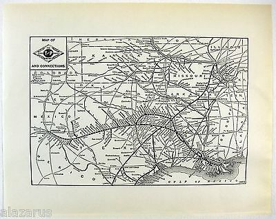 Original 1941 The Texas & Pacific Railway System Map