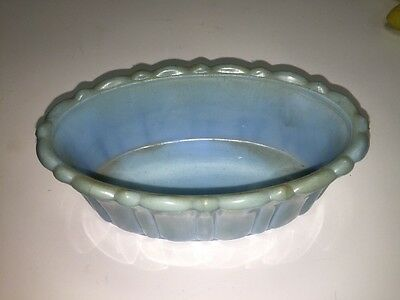 Akro Agate Company Made in USA 654 Sky Blue Oval Planter