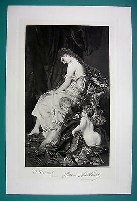 YOUNG MOTHER Sleeps Dreaming Children Playing - Antique Photogravure Print