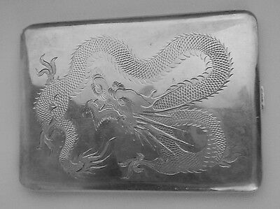 Chinese Export Silver Wing On & Co. Antique Dragon Cigarette Case Signed