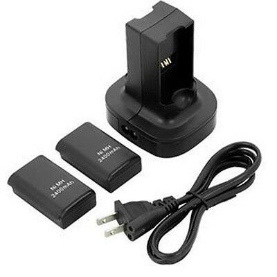 2 Rechargeable Battery Pack + Dual Charger Dock Station for XBOX 360 Controller
