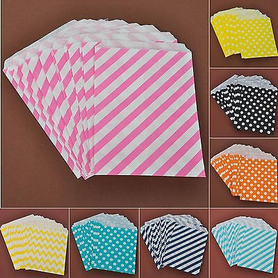 25Pcs Candy Stripe Ripple&Polka Dot Sweet Paper Bags Wedding Party Supplies Hot