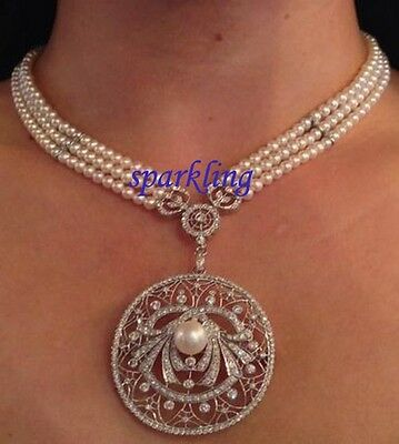 Victorian Antique Styl 4.40ct Rose Cut Genuine Diamond & Pearl Necklace