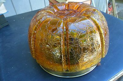 Vtg Mid Century Amber Crackle Art Glass  Lamp Globe Fixture / Shade