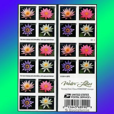 20 Water Lilies Forever stamp Booklet USPS Postage Stamps Purple Aquatic Flower