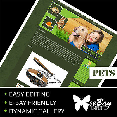 Professional eBay Auction Listing Template 14 PETS Custom HTML New Design