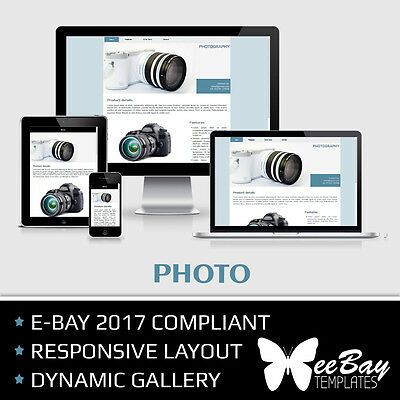 Professional eBay Auction Listing Template 63 PHOTOGRAPHY Custom HTML New Design
