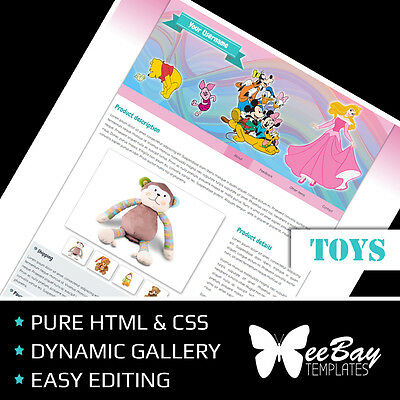 BEST Professional eBay Listing Auction Template Custom TOYS 77 HTML Design