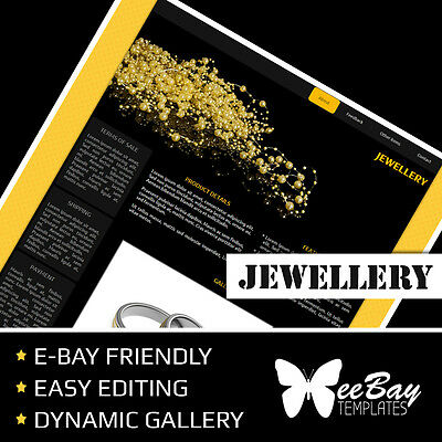 Professional eBay Listing Template Auction 74 JEWELLERY Custom HTML New Design