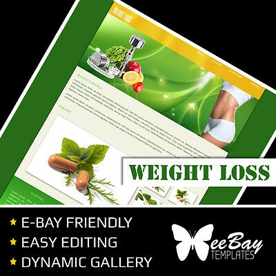 Professional eBay Auction Listing Template 68 WEIGHT LOSS Custom HTML New Design