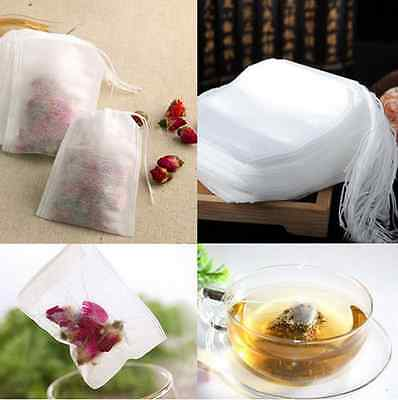 100Pcs Paper Empty Draw String Teabags Heat Seal Filter Herb Tea Bag Pouch ca