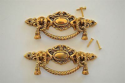Pair of Regency brass rope swag drawer handle draw pull desk chest cabinet 2020
