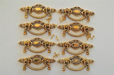 8 Regency brass rope swag drawer handle draw pull desk chest cabinet 2020